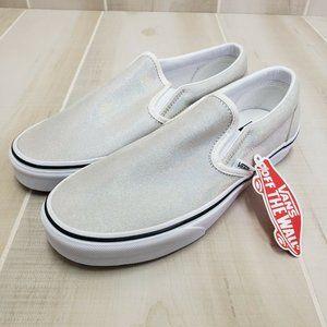 VANS Shimmer Slip-On Shoes W 8.5 Prisim Suede Gray